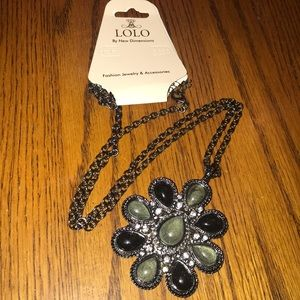 LOLO Jewelry - Long black grey Rhinestone charm necklace